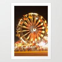 Ferris Wheel in Motion at Night Art Print
