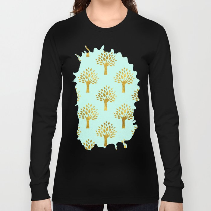 Mint Gold Foil 02 Long Sleeve T-shirt