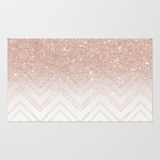 Modern faux rose gold glitter ombre modern chevron stitches pattern Rug