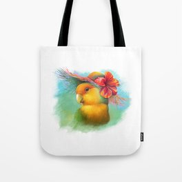 Orange-faced lovebird with hibiscus hat painting Tote Bag