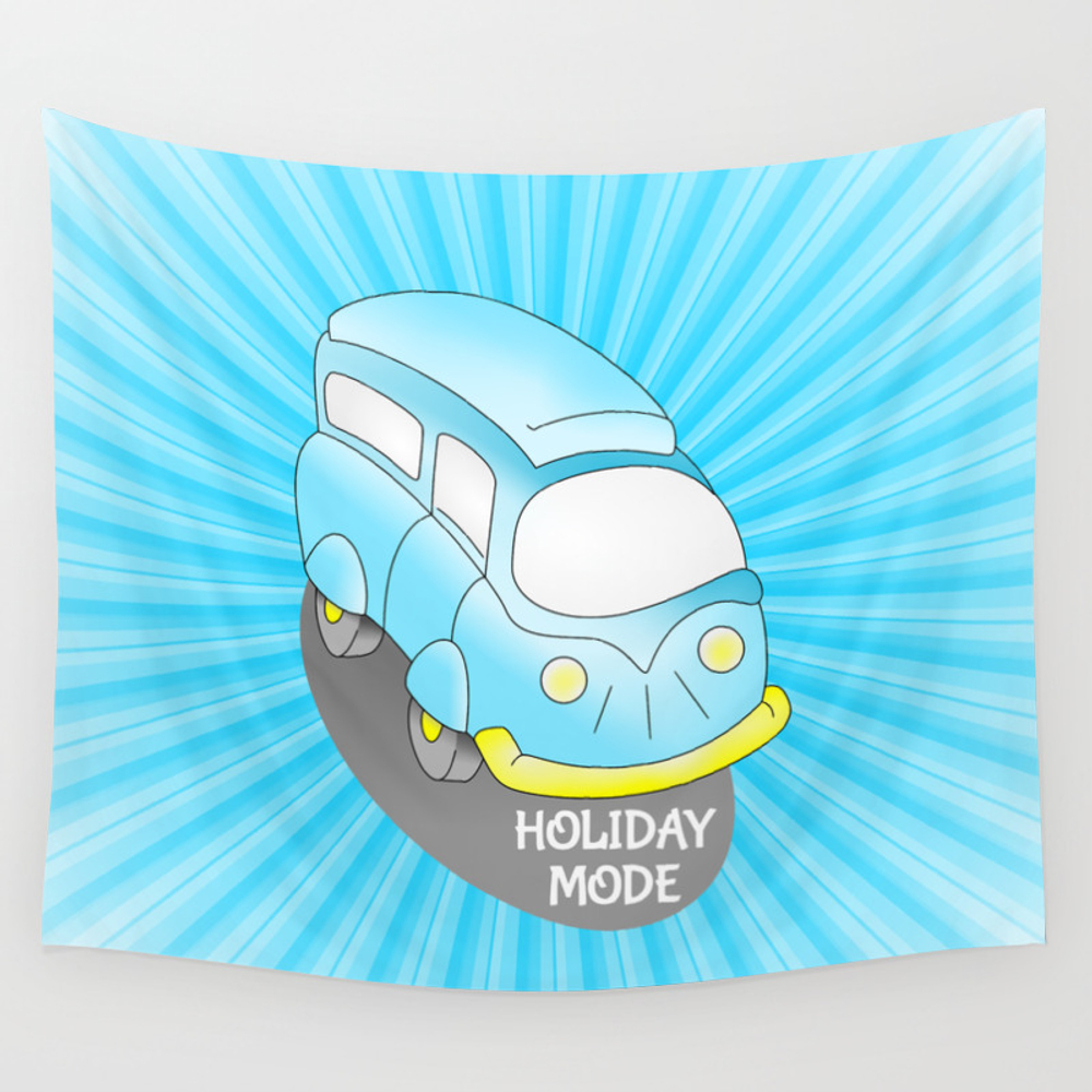 Road Trip Blue Van Wall Tapestry by Mailboxdisco TPS3153016