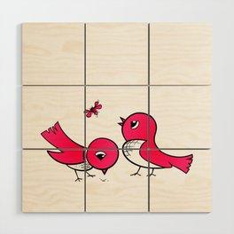 Cute little birds Wood Wall Art
