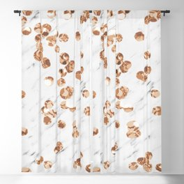 Rose gold crystals - white marble Blackout Curtain
