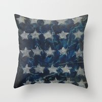 american flag Throw Pillows featuring AMERICAN FLAG by Renaes Art