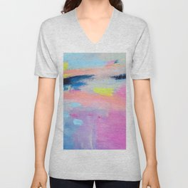Dreamy Abstract pink Art  Unisex V-Neck