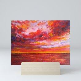 Red Fiery Ocean Sunset Mini Art Print
