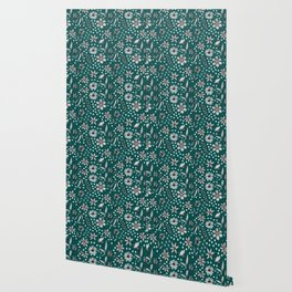 black and white floral on a dark teal background Wallpaper