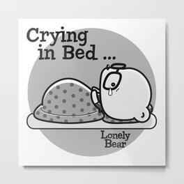 Lonely Bear Cries In Bed Metal Print