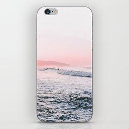 Ocean, Surfer, Pink Sunset, Beach Wall Art iPhone Skin