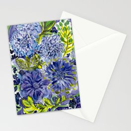 Purple and Acid Green Garden Floral Stationery Cards