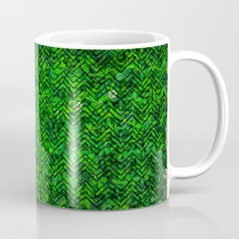 Don't leaf me (Vibrant green grass and clover meadow with chevron pattern) Coffee Mug