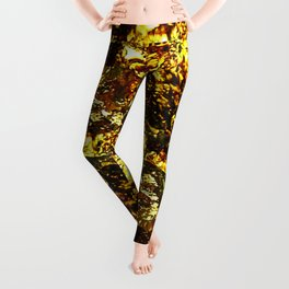 Solid Gold - Abstract, metallic gold textured pattern Leggings