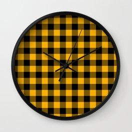 Jumbo Goldenrod Yellow and Black Rustic Cowboy Cabin Buffalo Check Wall Clock