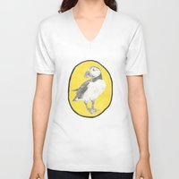 puffin V-neck T-shirts featuring Puffin by CSMalcolm Illustration