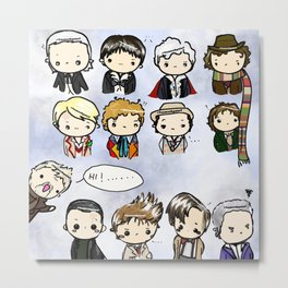 Kawaii Doctors (1 to 12 and War) Doctor Who Metal Print