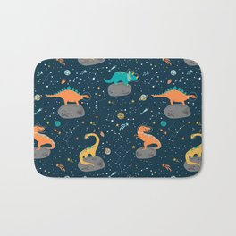 Dinosaurs Floating on an Asteroid Bath Mat