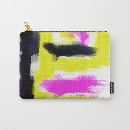 pink yellow and black painting abstract with white background Carry-All Pouch