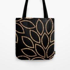 gold glitter leaves on black Tote Bag