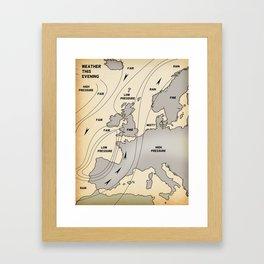 British Isles vintage weather map poster Framed Art Print
