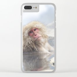 Snow Monkey Hot Springs Clear iPhone Case