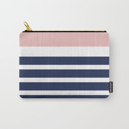 Cheerful Striped Pattern in Navy Blue, Pink, and White Carry-All Pouch