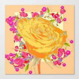 CORAL COLOR ART &  ORANGE ROSE PINK  FLOWERS  DESIGN Canvas Print