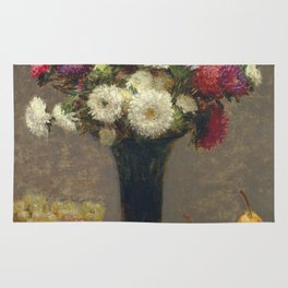 Henri Fantin-Latour - Asters And Fruit On A Table Rug