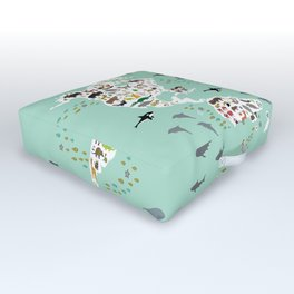 Cartoon animal world map for children and kids, back to schhool. Animals from all over the world Outdoor Floor Cushion