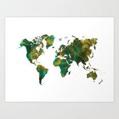 world map green world Art Print
