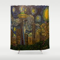 seahawks Shower Curtains featuring Dedication to Van Gogh: Seattle Starry Night by Jack Lepper