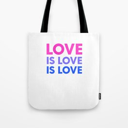 Love Is Love Is Love Bisexual Flag Bi Pride LGBT Humor Pun Design Cool Gift Tote Bag