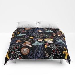 dark wild forest mushrooms Comforters