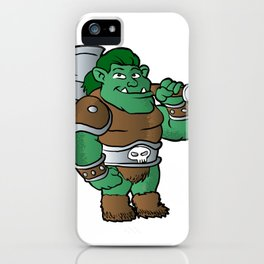 muscular orc in armor. iPhone Case