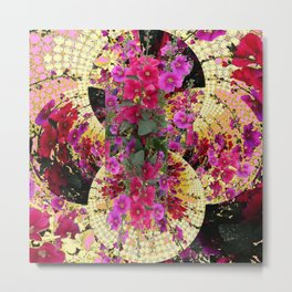 CORAL PINK & HOLLYHOCKS ABSTRACT GARDEN Metal Print