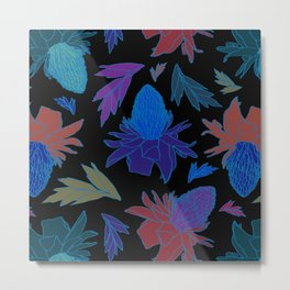 Tropical Ginger Plants in Moody Blues + Black Metal Print
