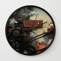 chad wys Wall Clocks featuring Dog Walker (A collaboration by Chad, Gabi, and Emily Beroth) by Chad Beroth