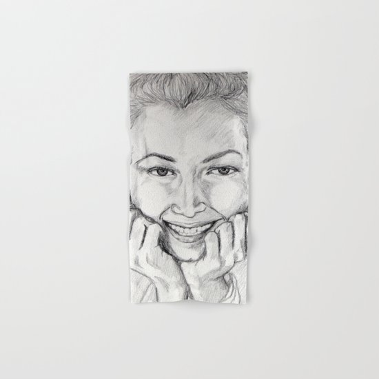 Daydream portrait graphite drawing Hand & Bath Towel