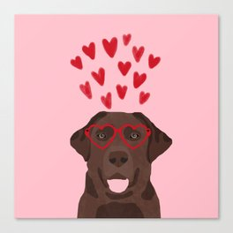Chocolate Lab love heart glasses cute pet gifts valentines day labrador retriever Canvas Print