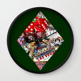 Diamond Playing Card Shape - Las Vegas Icons Wall Clock