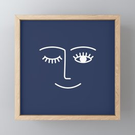 Wink / Navy Framed Mini Art Print