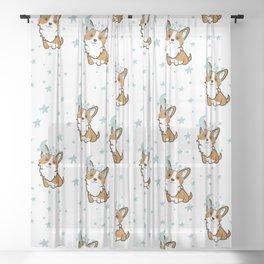 Corgi and stars. Children's seamless pattern Sheer Curtain