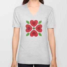 Christmas Heart Flowers Unisex V-Neck