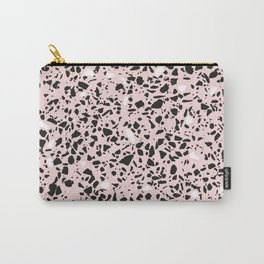 'Speckle Party' Soft Pink Black White Dots Speckle Terrazzo Pattern Carry-All Pouch