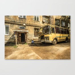Old Yellow Bus House Canvas Print