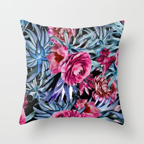 Blue And Pink Decorative Pillows : The floral pattern . pink and blue Throw Pillow by Fuzzyfox Society6