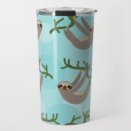 Three-toed sloth on green branch blue background Travel Mug