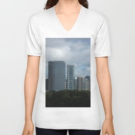 Chicago Skyline, Cloudy Day in Chicago Unisex V-Neck
