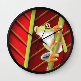 Colombia Frog travel poster. Wall Clock