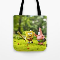 patrick Tote Bags featuring Spongebob & Patrick by m4Calliope