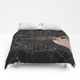 Black on Rosegold Dublin Street Map Comforters